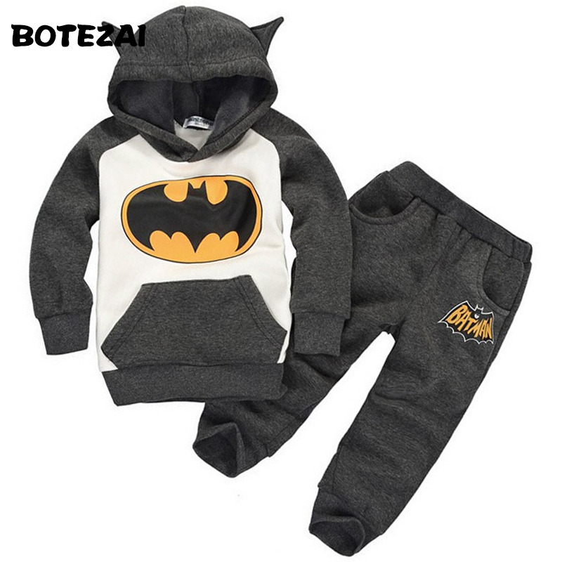 Retail New Fashion 2015 Children Outfits Tracksuit Batman Clothing Children Hoodies + Kids Pants Sport Suit Boys Clothing Set