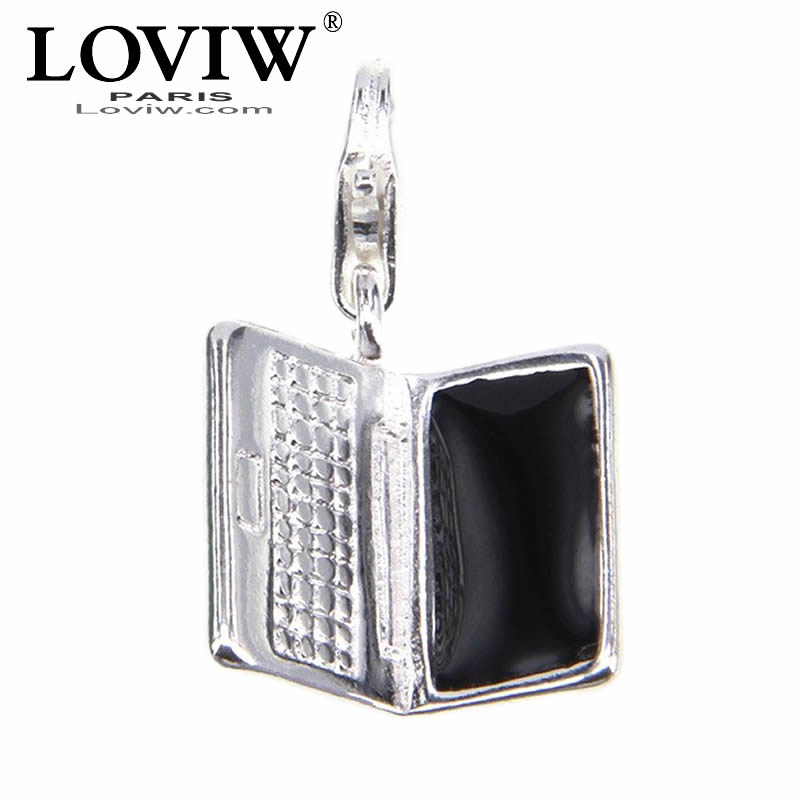 Vogue 3D Notebook computer Charm pendant with spring Fit Bracelet European Bijoux thomas sabor Jewelry Gift For Women & Men DIY