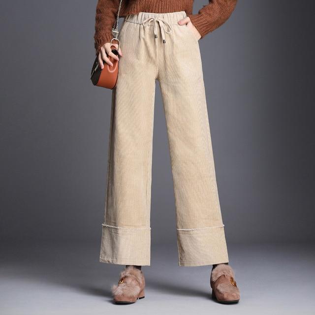 c658d85aaa22d Plus size M-9XL high elastic waist corduroy wide leg pants women nine thick  cotton pants trousers for lady fashion autumn winter