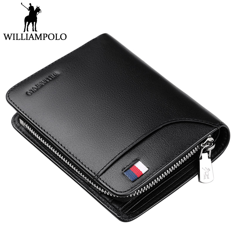 WILLIAMPOLO Designer Genuine Leather Men Short Wallet Purse Card Holder Coin Pocket Carteiras Masculinas Zipper Pouch Man Wallet williampolo mens zipper wallet genuine leather short purse cowhide card holder wallet coin pocket business wallets new year gift