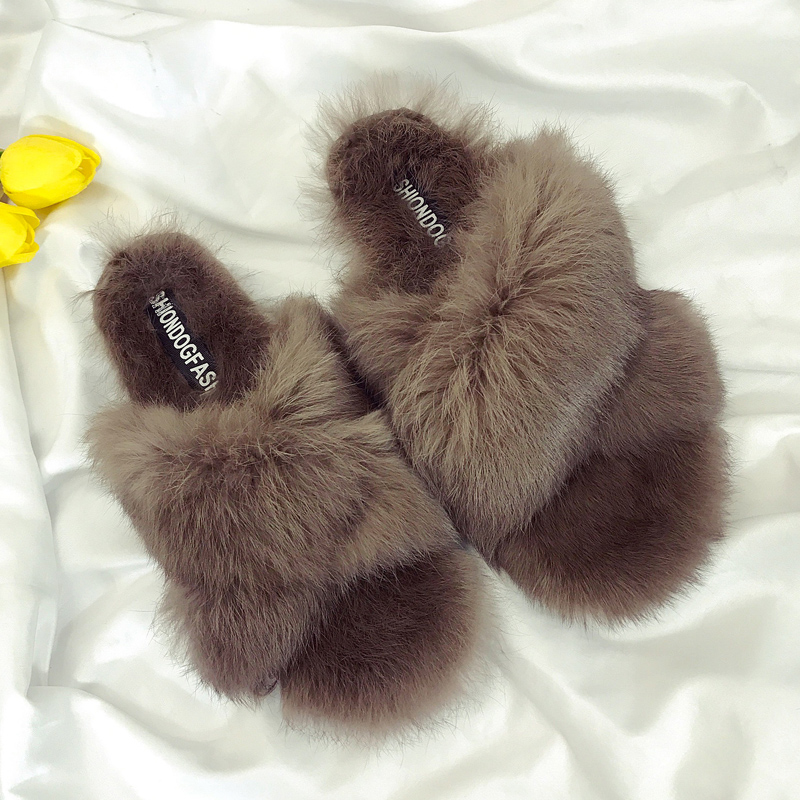 New Winter Women's Fur Slippers Shoes Genuine leather Real Rabbit Rabbit Fur Slippers Females Flat Sandals Home Slippers 35-39 fashionable real genuine women knit rabbit fur poncho cape wrap shawl with raccoon fur collar stole femail winter style pashmina