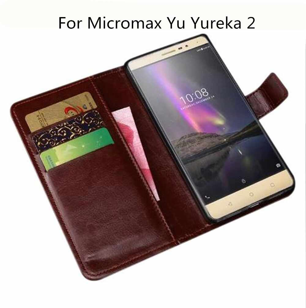 best service abb89 c9ed5 Case Luxury Wallet PU Leather Case For Micromax Yu Yureka 2 Case Flip  Protective Phone Back Cover Bags