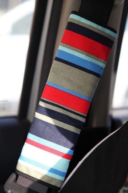 Personalizada lienzo tela línea de algodón asiento Auto del cinturón de seguridad cubre decoración del coche 2 unids - rojo