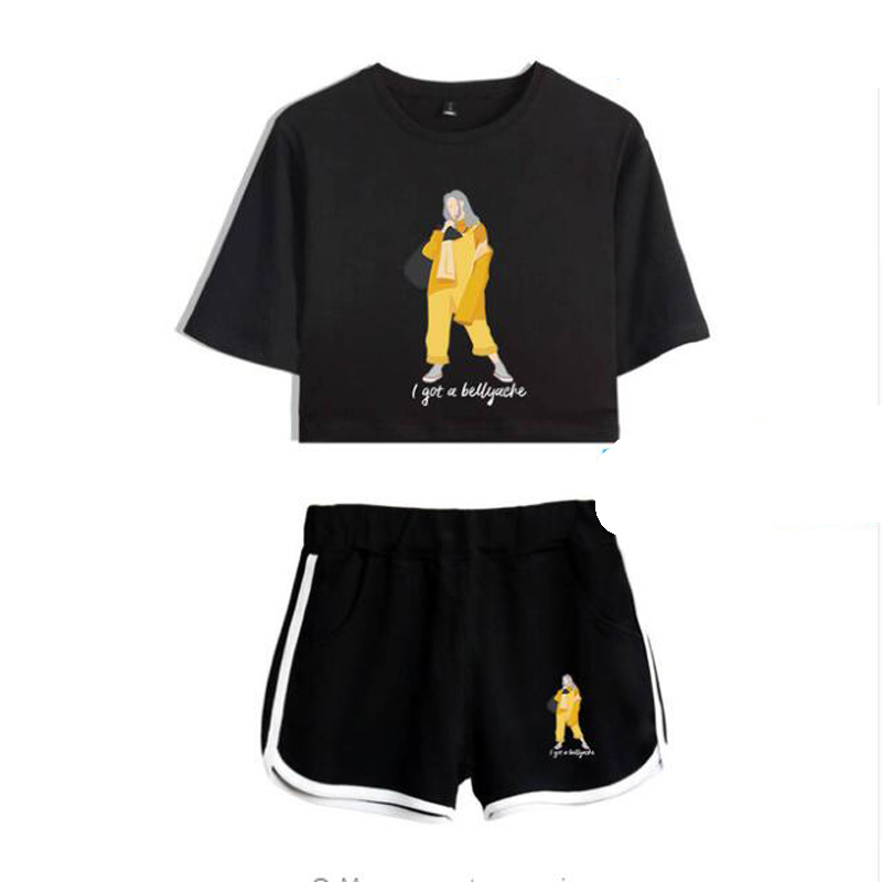 Summer Women Two Piece Outfits Billie Eilish 2 Piece Set Crop Top and Shorts Tracksuit For Women Sets Clothes Sportwear Suit
