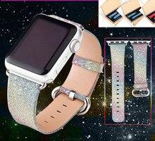 Christmas Shiny Glitter Power PU Leather Luxury Iwatch Band Wristwatch Bracelet Strap Belt for Apple Watch 38/42mm Free shipping