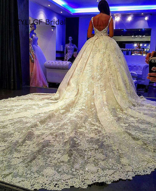 f702d30fc30 ZYLLGF Bridal Sexy Long Train Wedding Gowns Saudi Arabia Bridal Dresses  Ball Gown Royal Train Lace