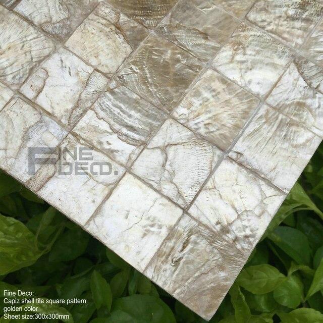 Goldene Farbe 100% Natürlichen Capiz Shell Mosaik Fliesen Quadratisch  Muster Für Wohnzimmer Dekoration