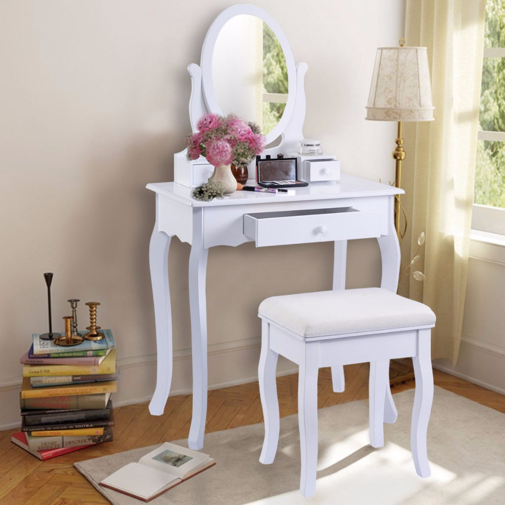 все цены на Golpus White Vanity Table Jewelry Makeup Desk and Bench Dresser with Mirror 3 Drawers Modern Furniture Vanity Table Set HB84003