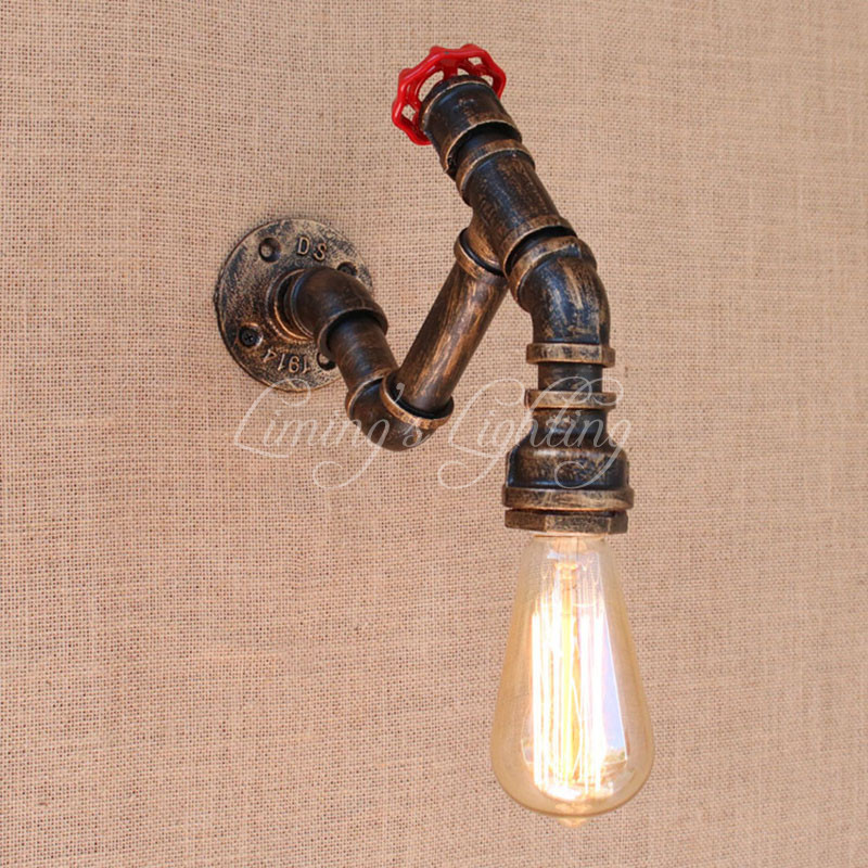 Retro metal Water pipe vintage loft wall lamp with edison/led bulb lights for cafe hallway/bedroom/living room/bathroom/bar/cafeRetro metal Water pipe vintage loft wall lamp with edison/led bulb lights for cafe hallway/bedroom/living room/bathroom/bar/cafe
