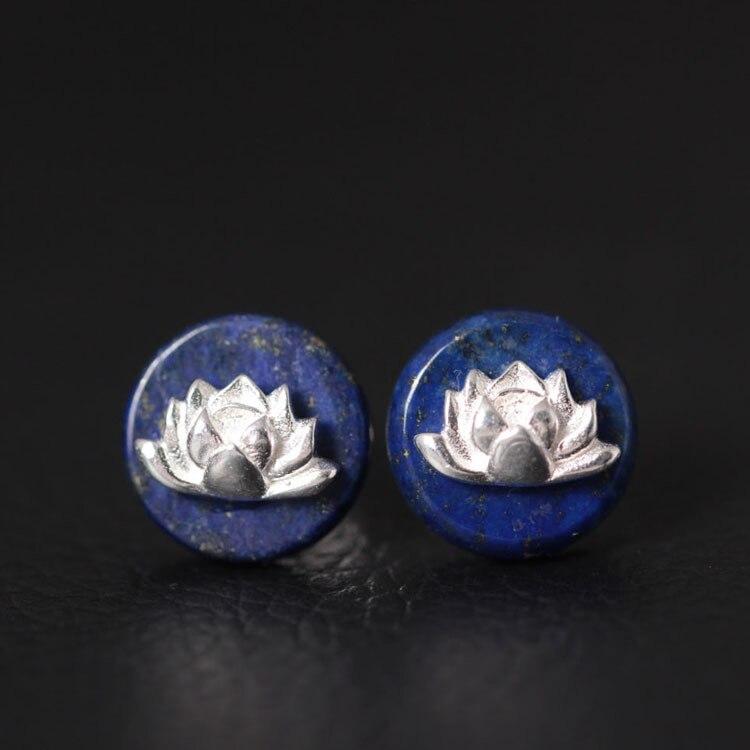 925 Sterling Argent Lapis Lazuli Fleur De Lotus Boucles D'oreilles Style Ethnique Élégant Dame Empêchent Allergie Sterling-argent-bijoux