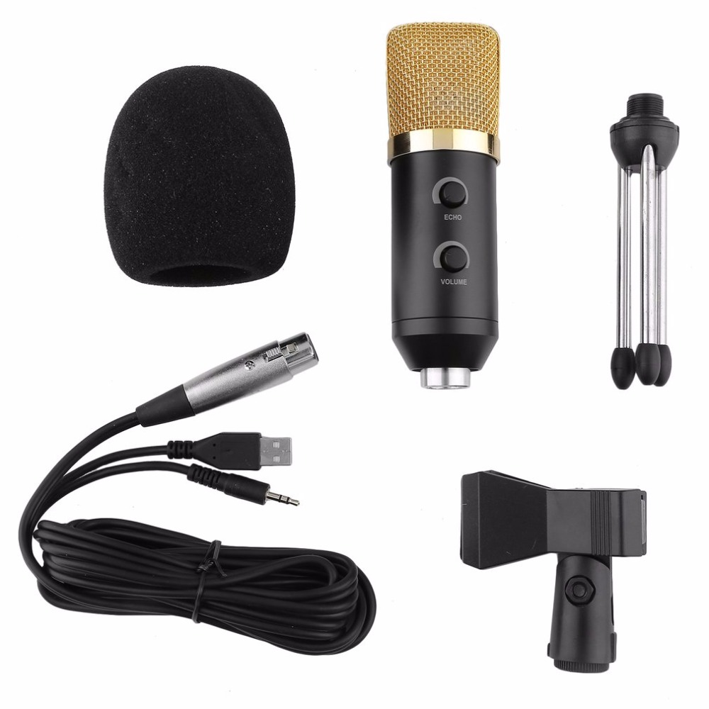 5Pcs/Set Condenser Sound Recording Mic Speaking Speech Microphone Independent Audio Card Free Microphone With Tripod MK-F100TL