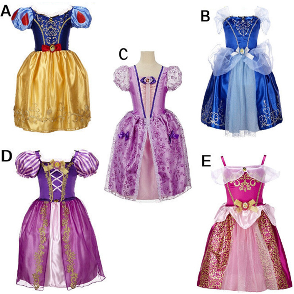 2017 New Summer Baby Girl Princess Dresses Snow White Cinderella Cosplay Dress Toddler Girls Party Birthday Costume Vestido 2017 new girls dresses for party and wedding baby girl princess dress costume vestido children clothing black white 2t 3t 4t 5t