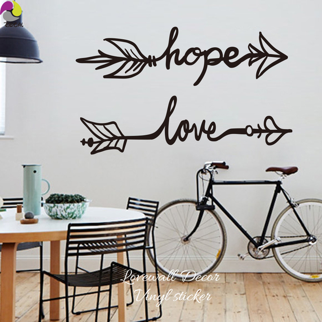 Boho Arrow Hope Love quote Wall Sticker Living Room Baby Nursery ...