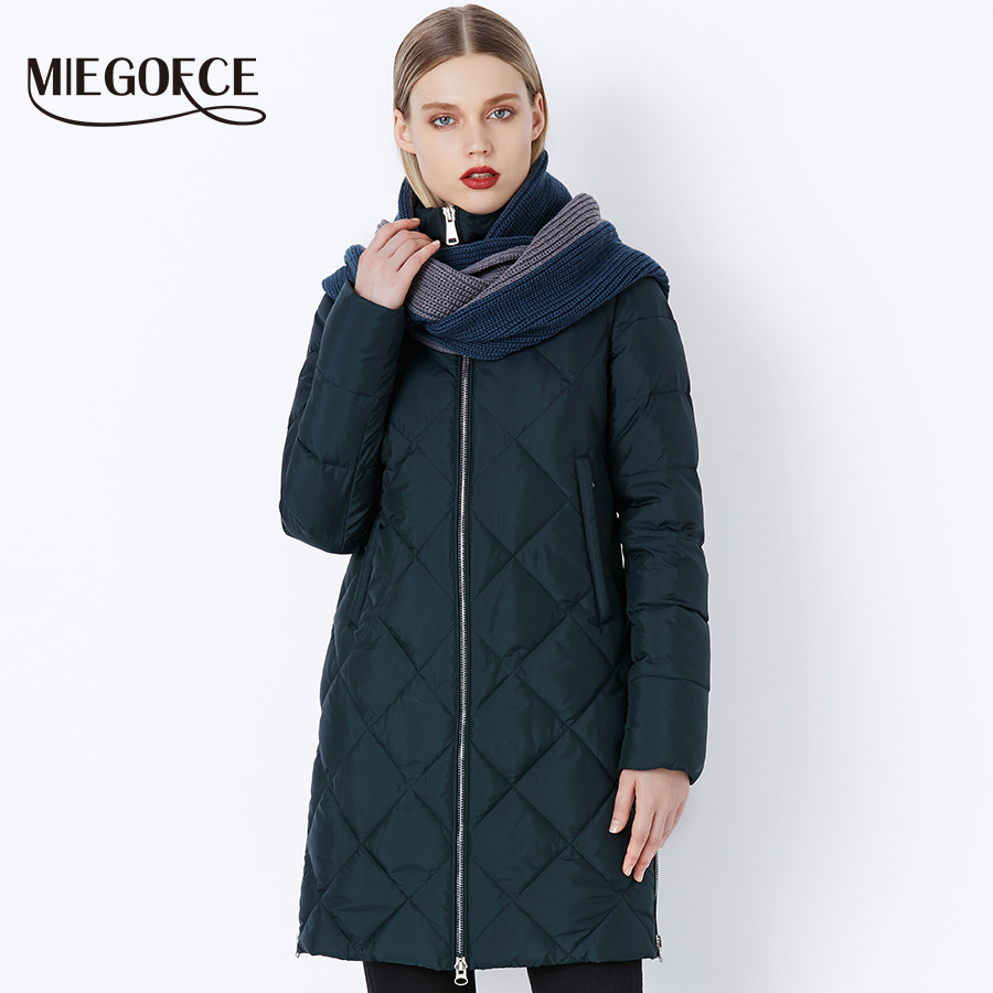 MIEGOFCE 2018 Winter Bio Fluff Outerwear Parkas Style Jacket With Scarf Warm Women