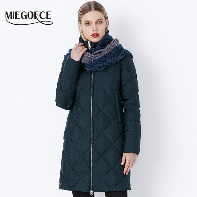 MIEGOFCE 2018 New Winter Women s Bio Fluff Outerwear Parkas Fashion Style  High Quality Jacket With Scarf Warm Women Coat 25ddb82bf711