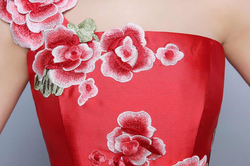 Синий хвост русалки Азиатский стиль короткий рукав мода вышивка свадебное платье Qipao длинный с новогодней елкой, бумажный ретро платье