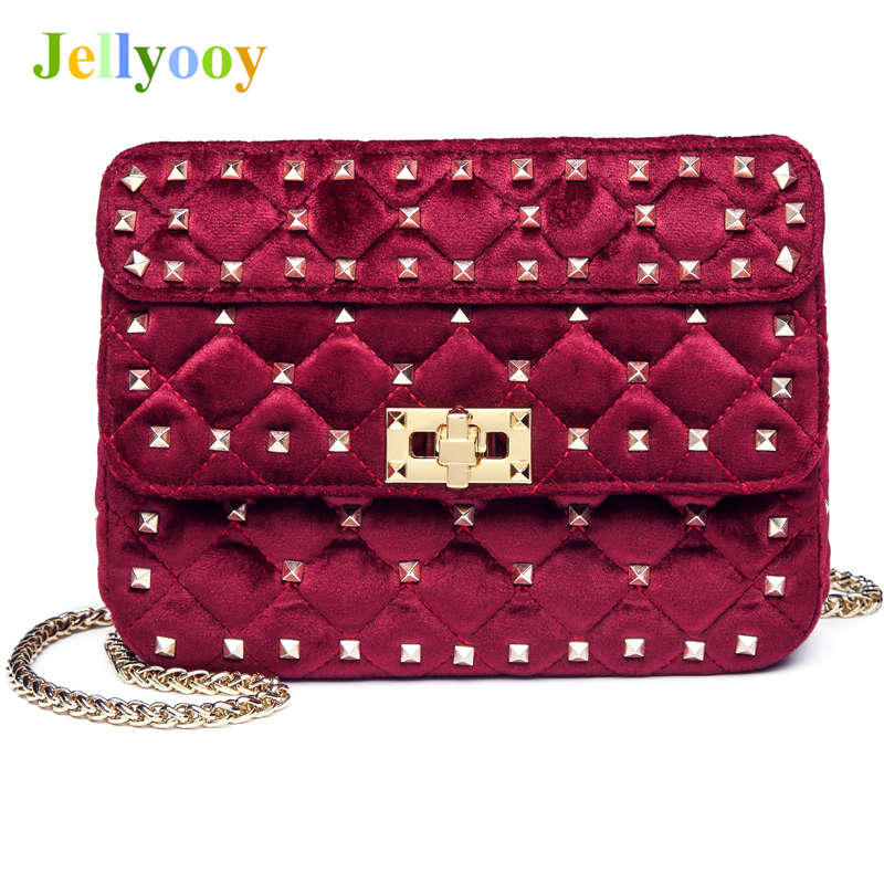 Fashion Velvet Chain Shoulder Bag Messenger Bags Luxury Diamond Rivet Handbags Famous Brand Women Designer Tote Bags Lady Clucth 2017 luxury handbags black women bags designer women s bag rivet chain messenger shoulder bags female skull clutch famous brand