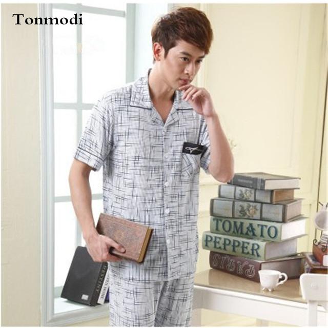 Pijama Dos Homens novos de Verão de Fibra de Bambu Calças Homens Sono Salão Conjuntos de Pijama Pijamas Dos Homens de Manga Curta Plus Size 4XL 5XL