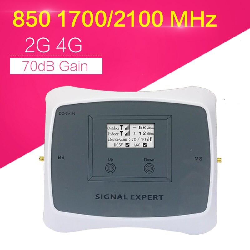 Repetidor de sinal 65dbi ganhou gsm850 + aws1700 impulsionador de sinal para eua canadá t-móvel claro movistar mts rogers at&t 3g 4g