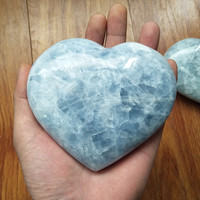a about 600g beautiful natural celestite stones and crystals heart home decoration stone healing crystals
