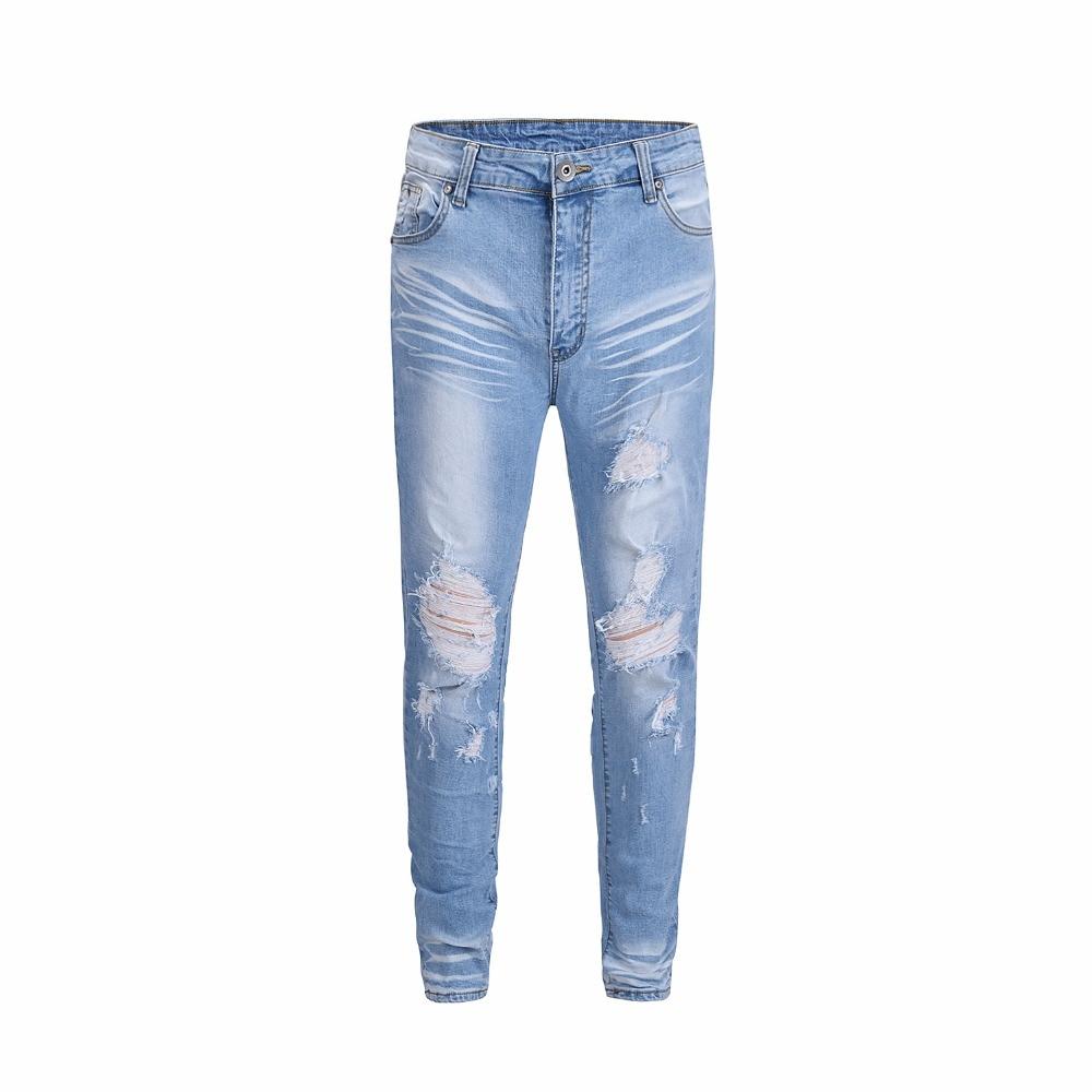Européen Scratch Effet Slim Américain Pu Ciel Hip Genou Détruits Bleu Streetwear Trou Hop Jean Lavé Jeans Stretch Et Clair Blanc YnPw7