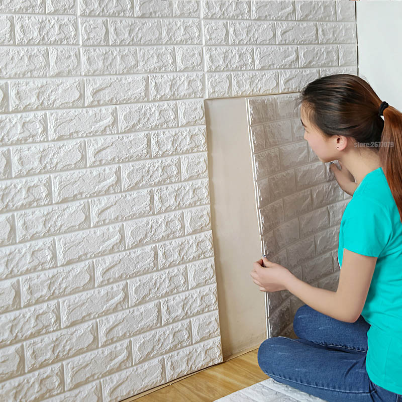 70x77cm PE Foam 3D Wall Stickers Safty Home Decor Wallpaper DIY Wall Decor  Brick Living Room Kids Bedroom Decorative Sticker  In Wall Stickers From  Home ...