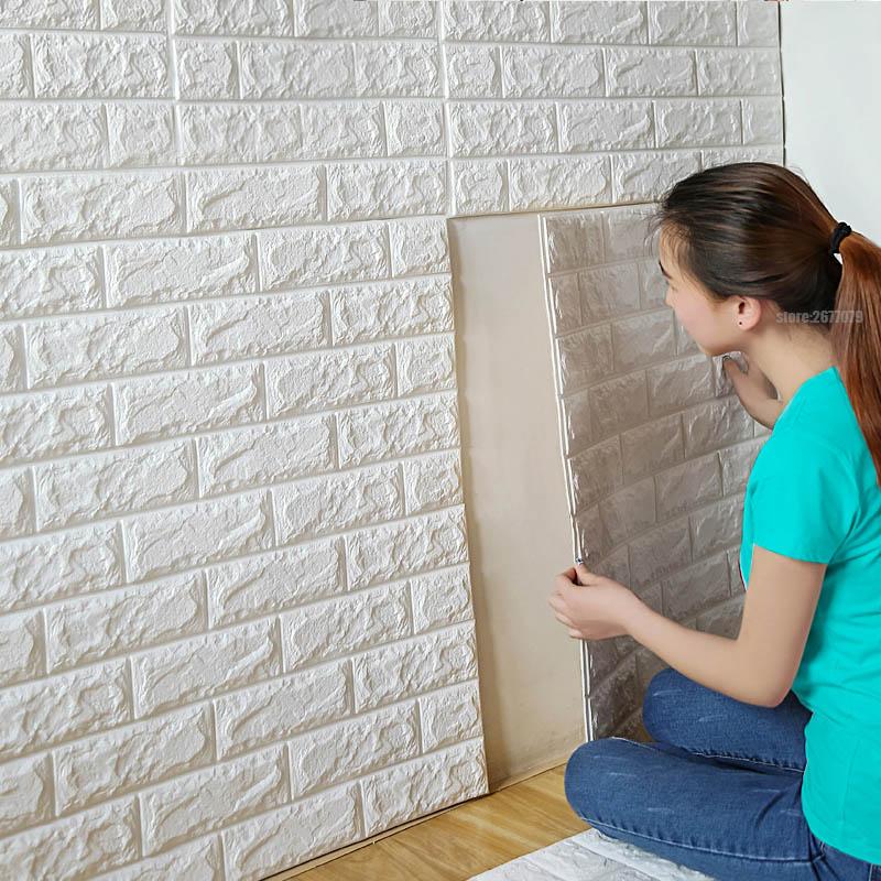 70x77cm PE Foam 3D Wall Stickers Safty Home Decor Wallpaper DIY Wall Decor Brick Living Room Kids Bedroom Decorative Sticker