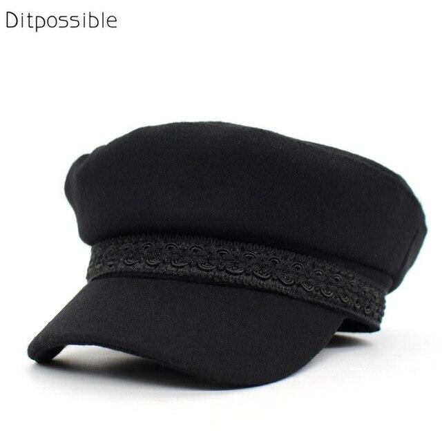 Ditpossible nuevas mujeres lana sombrero militar sombreros de algodón para  las mujeres sombreros militares 159add0ed6e