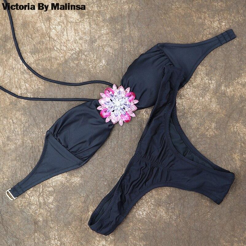 Women pink Crystal Diamond Bikini Set White Top Secret Swimsuit Summer Biquini Cheeky Bottom brazilian Bathing Suit Swimwear 2