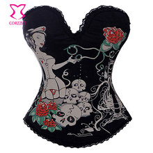 Burlesque Sexy Lingerie Black Cotton White Nurse Print Sweetheart Corset Hot Shaper Slimming Body Steel Boned Gothic Corselet