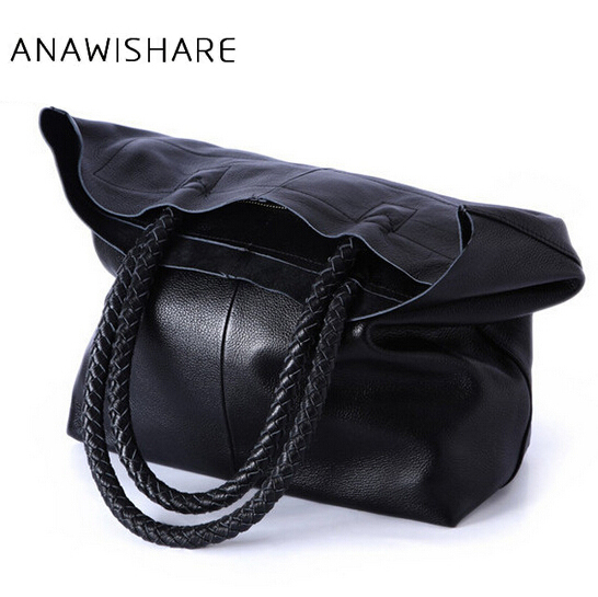 ANAWISHARE Women Handbag Genuine Leather Shoulder Bag Cowhide Ladies Black Brown Casual Shopping Bag Large Capacity Tote Bolsos