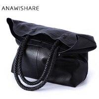 ANAWISHARE Women Handbag Genuine Leather Shoulder Bag Cowhide Ladies Black Brown Casual Shopping Bag Large Capacity Tote Bolsos