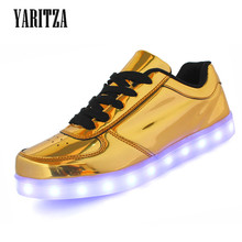 [Y ARITZA] 2016ใหม่7สีผู้ชายผู้หญิงต่ำบนUSB LEDแสงรองเท้าU Nisexแฟชั่นไฟLed Lumineuseแฟลตรองเท้าซิลเวอร์โกลด์
