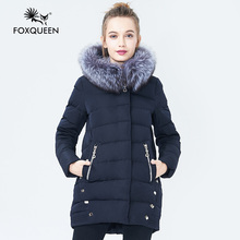 Foxqueen 2017 Warm Winter Fashion Women Thick Down Cotton Jacket Hooded Coat Parka With Silver Fox Fur Collar Free Shipping 280