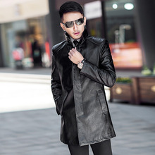 2020 Fall Black Motorcycle Leather Trench Men's Coats Spring Autumn Business Cas