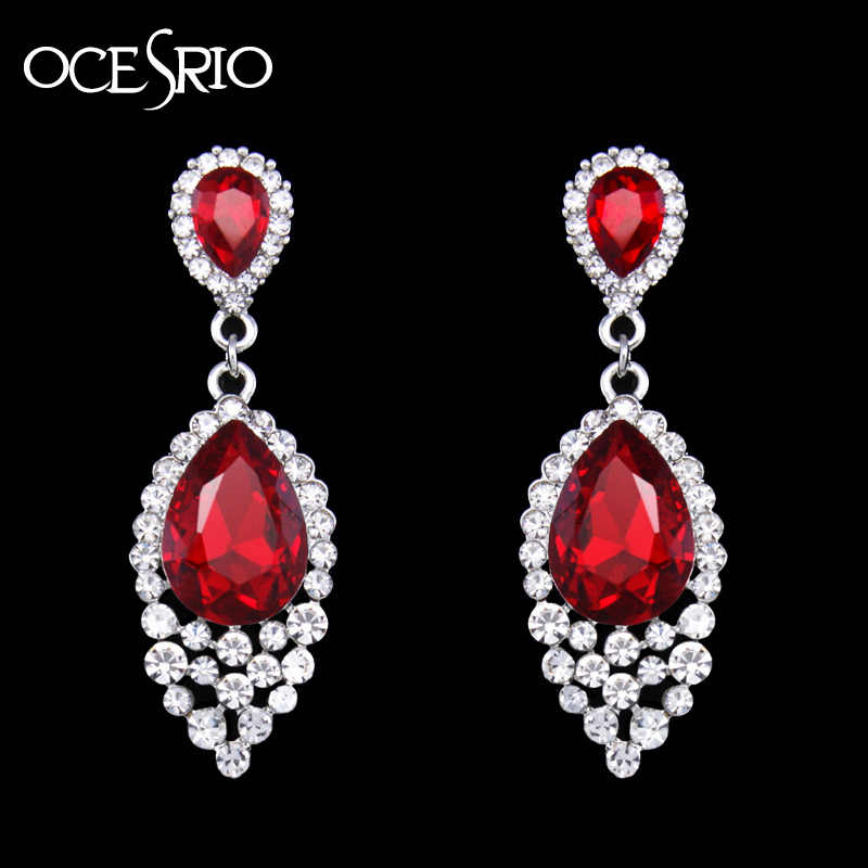 OCESRIO Clearance Red Earrings for Women Crystal Water Drop Earring with stone Party earrings hanging Wedding Jewelry ers-h65