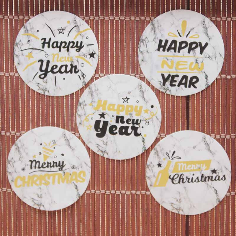 100pcs 3cm Gold Foil Happy New Year Gift Packing Labes Multi Merry Christmas Gifts /jewelry Tag Labels Self Adhesive Labels
