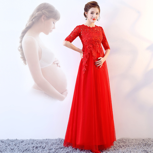 f500e4f2a Bride 2018 Modern Pregnant Women Cheongsams Dress Waist Red Flower Qipao  Chinese Traditional Party Dresses Wedding Cheongsam