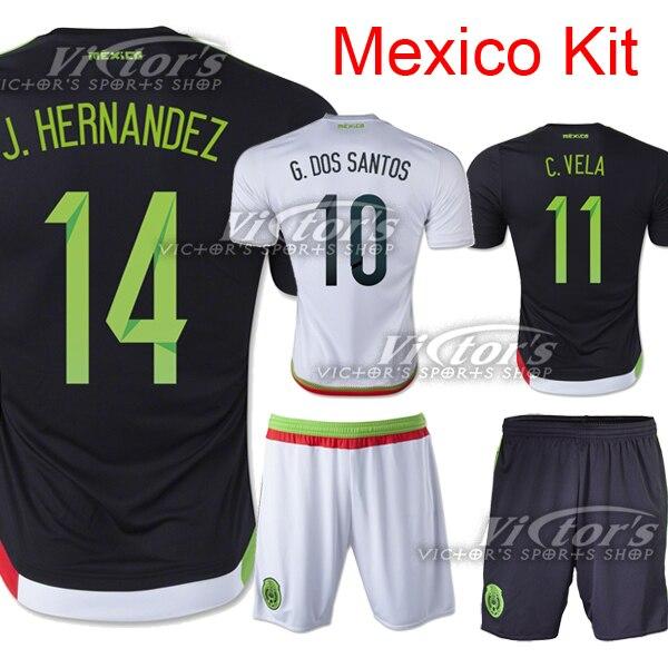 09431ec9a6416 Mexico Jersey 2015 Soccer Black White Home Away 2016 National Team Mexico  Camisetas Futbol Football Shirt