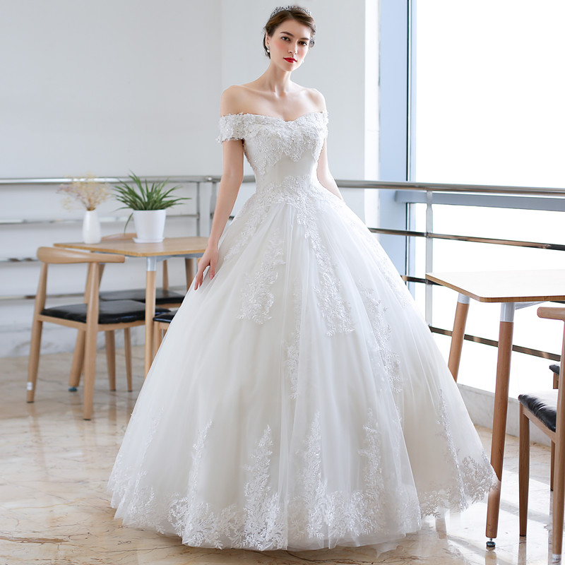 QQ Lover 2018 Nice Lace Flowers Ball Gown Wedding Dress Off Shoulder ...