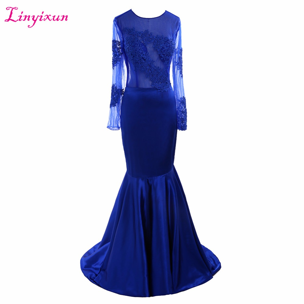 Linyixun Real Photo Sexy African Royal Blue Mermaid   Prom     Dresses   2017 Satin Appliques Lace Long Sleeve   Prom     Dress   Party   Dress
