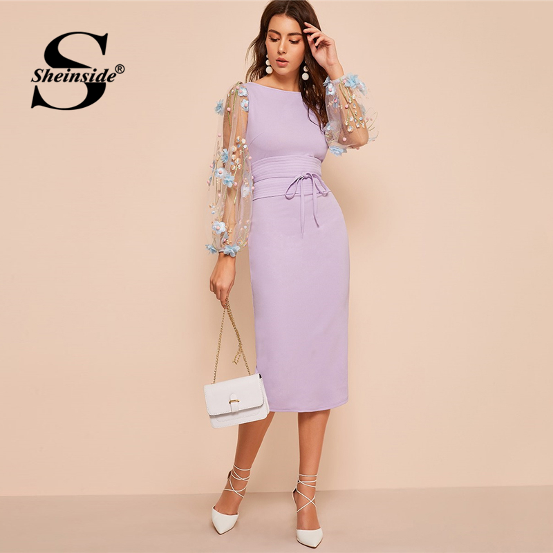 Sheinside Elegant Embroidered Applique Mesh Sleeve Dress Women  2020 Spring Lantern Sleeve Bodycon Dresses Ladies Belted DressDresses