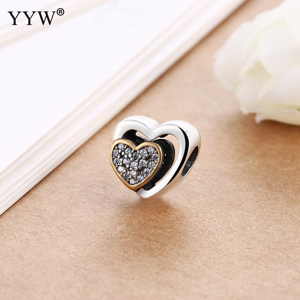 hot Silver European CZ Charm Beads Fit Style