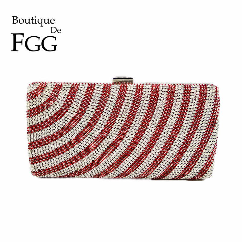 Famous Brand Striped Hot Fixed Multi Crystal Women Evening Bag Box Clutch Bridal Silver Wedding Handbag Purse Party Clutches Bag