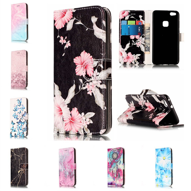 Marble Granite Leather Flip Cases for Huawei P10 Lite Wallet Cover Card Slot Phone Case for HUAWEI P10Lite Fundas Etui Capinhas