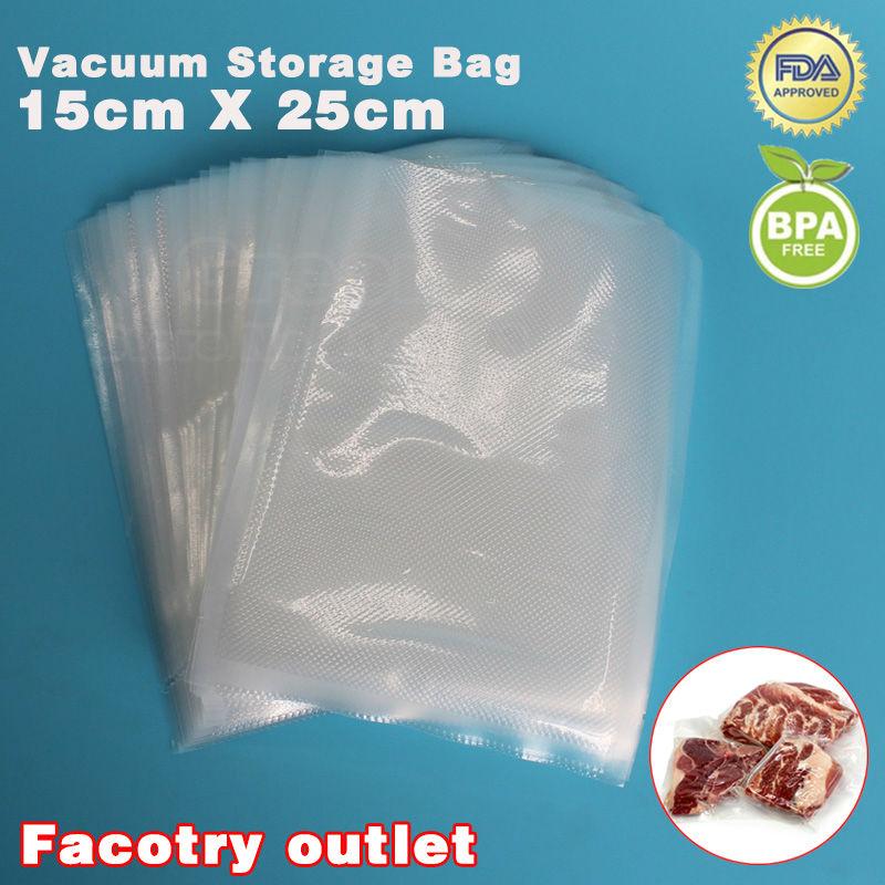 15cm x 25cm 100PCS Food Vacuum Heat Sealer Packaging Bag Food Saving Storage Film Keeps Fresh up to 6x Longer