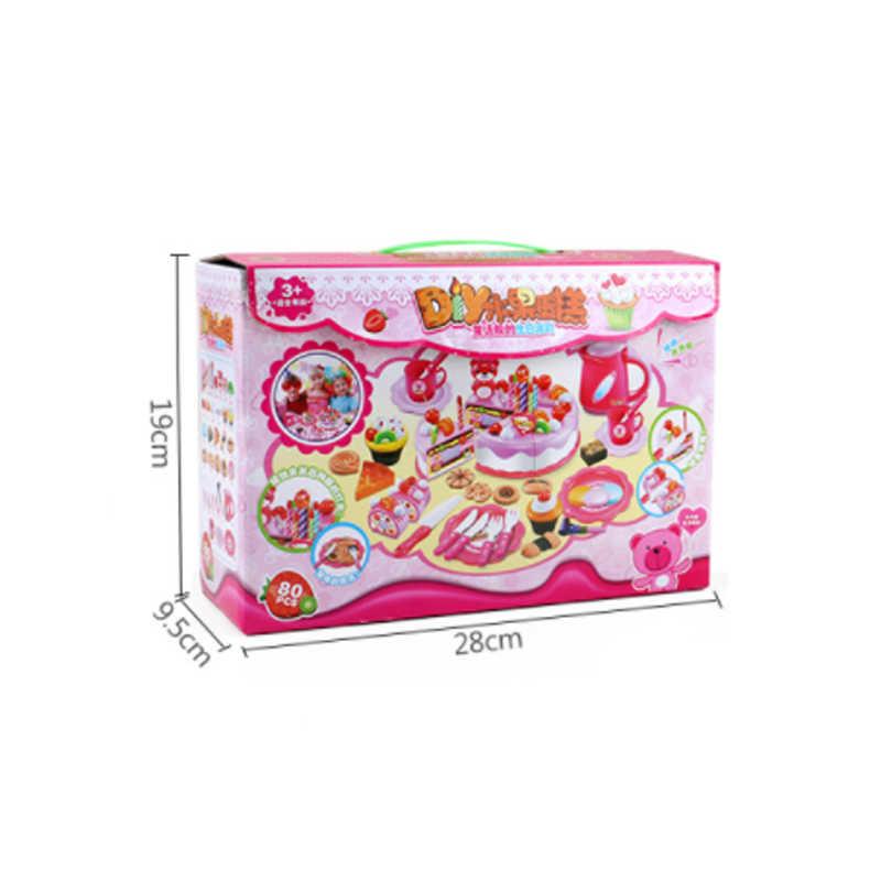 f44576a8b5a8 ... 80 шт. кухонные игрушки ролевые игры резка торт ко дню рождения игрушка  для детского кухонного