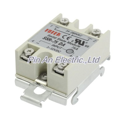 DC 3-32V Input Temperature Control Solid State Relay w DIN Rail 75A SSR-75DA normally open single phase solid state relay ssr mgr 1 d48120 120a control dc ac 24 480v