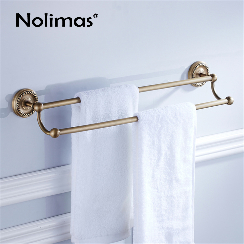 Salle de bain cuivre porte-serviettes laiton Antique porte-serviettes de toilette Double porte-serviettes étagère solide support bref fixe salle de bain accessoire