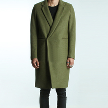 mens brief winter wool coat 2016 male autumn and winter fashion coat solid color brief all-match green woolen overcoat